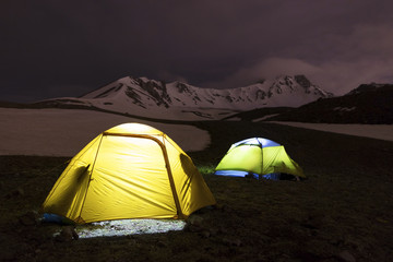 Tents of tourists are located at the foot of Mount Erciyes in central Turkey