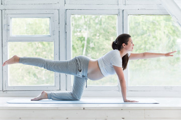 Young pregnant woman doing fitness and yoga excercises on blue mat at home near big windows, full body portrait. Healthy pregnancy, sport and lifestyle concept