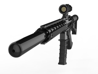 Modern army assault rifle with silencer - closeup shot on the silencer