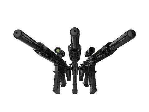 Three modern assault rifles with silencers