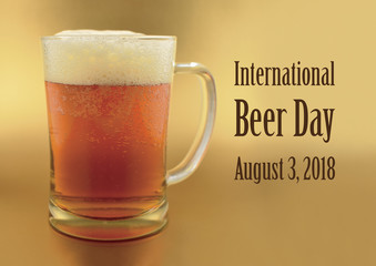 International Beer Day illustration. Glass of beer on a gold background. Beer day poster. Important day