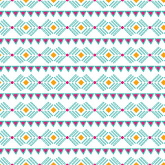 Seamless tribal ethnic horizontal pattern Aztec abstract background Mexican texture in bright pink orange colors