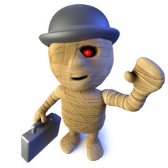 3d Funny cartoon Egyptian mummy character wearing a bowler and carrying a briefcase