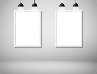 Blank white frame on wall with lamp vector illustration