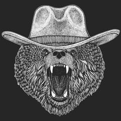 Bear. Wild west. Traditional american cowboy hat. Texas rodeo. Print for children, kids t-shirt. Image for emblem, badge, logo, patch.