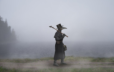 Reconstruction of the medieval scene: the plague doctor on the way