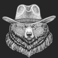 Wild west. Traditional american cowboy hat. Texas rodeo. Print for children, kids t-shirt. Image for emblem, badge, logo, patch.