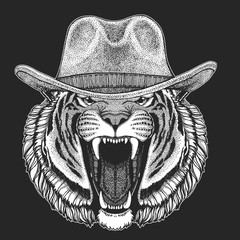 Tiger Wild west. Traditional american cowboy hat. Texas rodeo. Print for children, kids t-shirt. Image for emblem, badge, logo, patch.