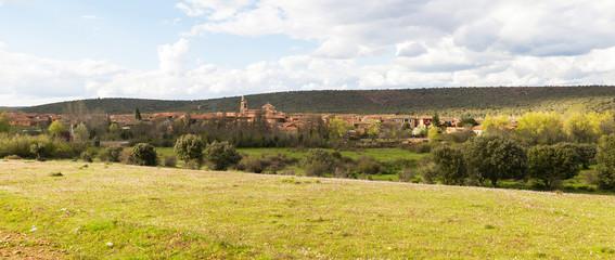 Vista panoramica de la Localidad o Pueblo de Castrillo de los Polvazares. Camino de Santiago. Leon. España