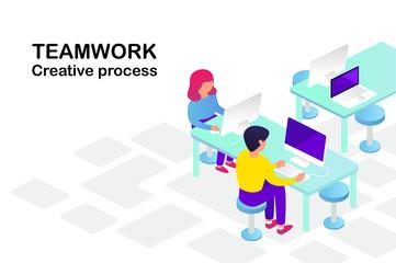 teamwork. people at work. isometric 3d vector illustration.