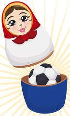 Matryoshka Doll Opened with Soccer Ball inside of It, Vector Illustration