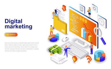 Digital marketing modern flat design isometric concept. Advertising and people concept. Landing page template. Conceptual isometric vector illustration for web and graphic design. Wall mural