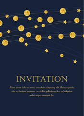 Vector illustration card template with golden color circles background. Design with gold glittering polka dot decoration