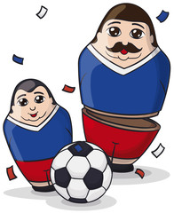Male Matryoshka Dolls like Soccer Players and Ball, Vector Illustration
