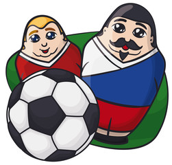 Male Matryoshka Dolls with Russian Colors behind a Soccer Ball, Vector Illustration