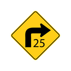 USA traffic road signs. low speed sharp right curve ahead, advisory to reduce speed to 25 mph in ideal driving conditions. vector illustration