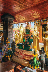 Replica of the Emerald Buddha at Wat Phra That Doi Suthep, which is the major tourist destination in Chiang Mai, Thailand.