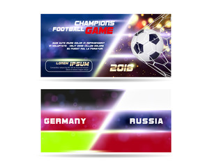 Soccer or Football wide Banner or flyer design with 3d ball on golden blue background. Football game flags match goal moment with realistic ball in the net and place for text