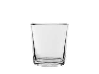 empty glass from transparent colourless glass, for cold drinks, isolated on a white background