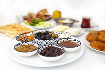 Traditional Turkish Breakfast. Isolated on white.