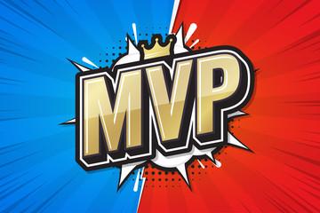 Most Valuable Player, MVP poster comic speech bubble. Vector illustration