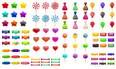 Supe set of different sweets on white background hard candies dragee jelly beans peppermint candy. Vector illustration,