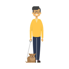 man walking with cat. full length boy with pets on white background cute guy, happy family concept, flat cartoon design vector illustration