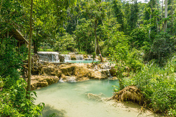 Tad Kwang Si (Xi) the biggest water fall land mark in Luang Prabang, Laos ,beautiful turquoise color water at tropical forest in north Lao, for use as a background or travel advertisement image