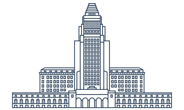 Los Angeles city hall building in thin line style. LA center of government, top rated attraction, popular sight - vector illustration on outline design.