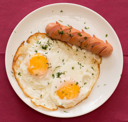 Breakfast, fried eggs with sausage