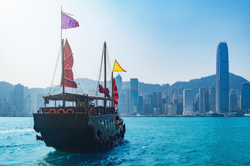 Retro small ship in Hong Kong harbour.