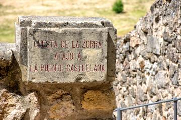 Letrero con nombre, Segovia