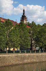White tower and embankment of Elbe river in Hradec Kralove. Czech Republic