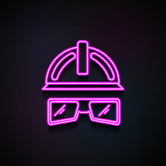 glasses and a helmet construction icon. Element of Home repair tool icons for mobile concept and web apps. Neon glasses and a helmet construction icon can be used for web