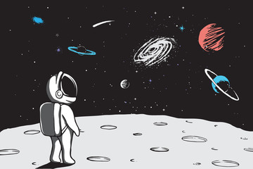 Astronaut looks to universe from planet.Hand drawn vector illustration