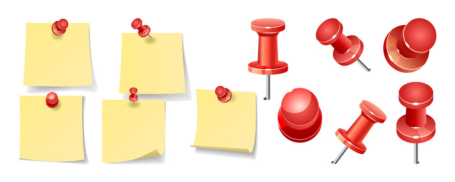Collection of various yellow note papers with curled corner, pinned red pushbutton, ready for your message. Vector illustration. Front view. Top view. Close up.