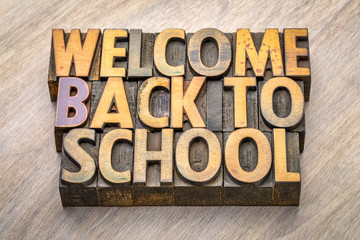 welcome back to school word abstract in vintage wood type
