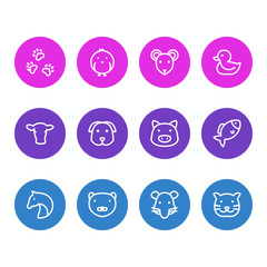 Vector illustration of 12 animal icons line style. Editable set of mink, pet, rat and other icon elements.