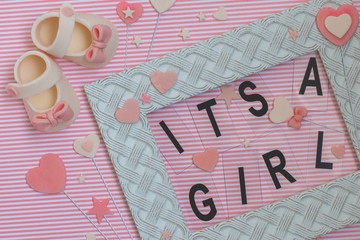 it's a girl! Baby shower concept. Newborn background