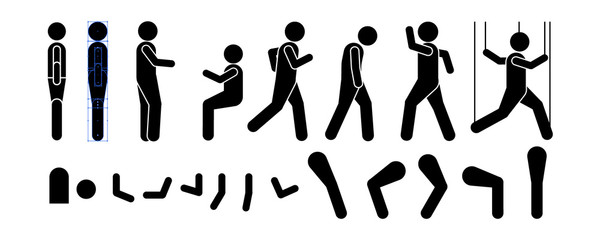 men standing in different positions with interchangeable man, body, arm and leg pieces. You know the garbage man can change as you like. Vector illustration of posing person icon symbol sign pictogram
