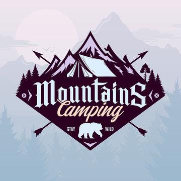 Vector mountains camping