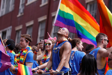 People participate in the 2018 New York City Pride Parade in Manhattan, New York,