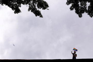A person waves a rainbow flag on a rooftop as they watch the 2018 New York City Pride Parade in Manhattan, New York