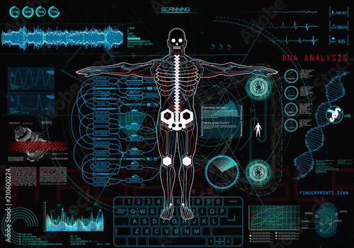 Scanning Cyborg in Concept Hud Ui  Human-Robot Interaction With the