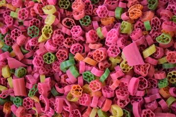 bright multi-colored pasta
