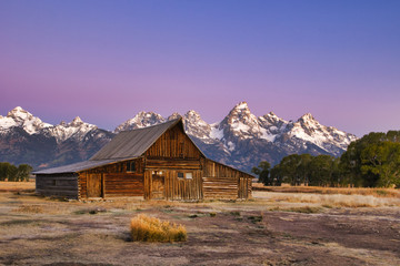 Moulton barn on Mormon Row at Grand Teton National Park early morning