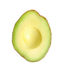 Half of avocado on white background