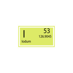 Periodic table element iodum icon. Element of chemical sign icon. Premium quality graphic design icon. Signs and symbols collection icon for websites, web design, mobile app