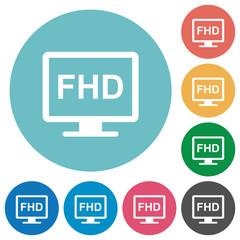 Full HD display flat round icons