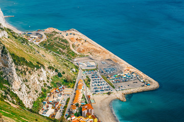 Aerial view of the coastline of Gibraltar from the top of the rock
